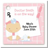 Little Girl Doctor On The Way - Personalized Baby Shower Card Stock Favor Tags