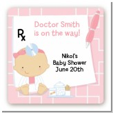 Little Girl Doctor On The Way - Square Personalized Baby Shower Sticker Labels