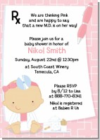 Little Girl Doctor On The Way - Baby Shower Invitations