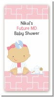 Little Girl Doctor On The Way - Custom Rectangle Baby Shower Sticker/Labels