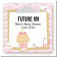 Little Girl Nurse On The Way - Square Personalized Baby Shower Sticker Labels
