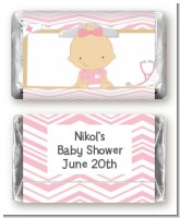 Little Girl Nurse On The Way - Personalized Baby Shower Mini Candy Bar Wrappers