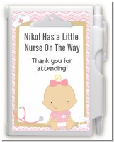 Little Girl Nurse On The Way - Baby Shower Personalized Notebook Favor