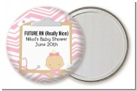 Little Girl Nurse On The Way - Personalized Baby Shower Pocket Mirror Favors