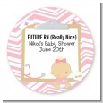 Little Girl Nurse On The Way - Round Personalized Baby Shower Sticker Labels thumbnail