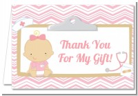 Little Girl Nurse On The Way - Baby Shower Thank You Cards
