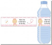 Little Girl Nurse On The Way - Personalized Baby Shower Water Bottle Labels