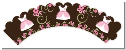 Little Girl Outfit - Baby Shower Cupcake Wrappers