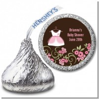 Little Girl Outfit - Hershey Kiss Baby Shower Sticker Labels