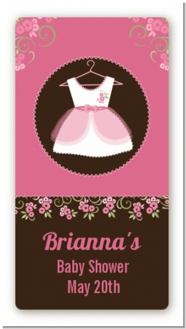 Little Girl Outfit - Custom Rectangle Baby Shower Sticker/Labels