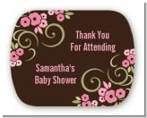 Little Girl Outfit - Personalized Baby Shower Rounded Corner Stickers