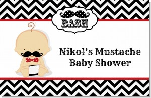 Little Man Mustache Black/Grey - Personalized Baby Shower Placemats
