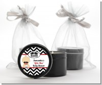 Little Man Mustache Black/Grey - Baby Shower Black Candle Tin Favors
