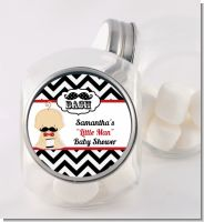 Little Man Mustache Black/Grey - Personalized Baby Shower Candy Jar