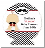 Little Man Mustache Black/Grey - Personalized Baby Shower Centerpiece Stand