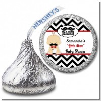 Little Man Mustache Black/Grey - Hershey Kiss Baby Shower Sticker Labels