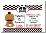 Little Man Mustache Black/Grey - Baby Shower Petite Invitations