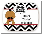 Little Man Mustache Black/Grey - Personalized Baby Shower Rounded Corner Stickers
