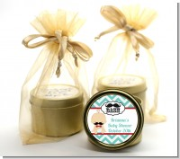 Little Man Mustache - Baby Shower Gold Tin Candle Favors