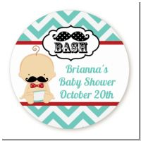Little Man Mustache - Round Personalized Baby Shower Sticker Labels