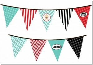 Little Man Mustache - Baby Shower Themed Pennant Set