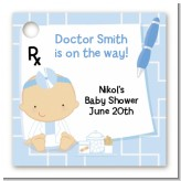 Little Doctor On The Way - Personalized Baby Shower Card Stock Favor Tags
