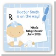 Little Doctor On The Way - Square Personalized Baby Shower Sticker Labels thumbnail