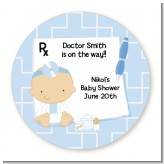 Little Doctor On The Way - Round Personalized Baby Shower Sticker Labels