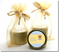 Little Prince African American - Baby Shower Gold Tin Candle Favors
