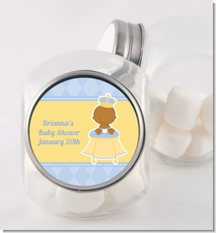 Little Prince African American - Personalized Baby Shower Candy Jar