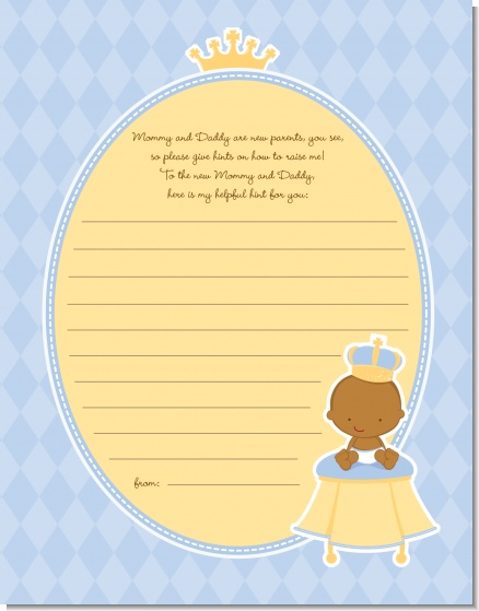 Little Prince African American - Baby Shower Notes of Advice