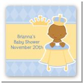 Little Prince African American - Square Personalized Baby Shower Sticker Labels