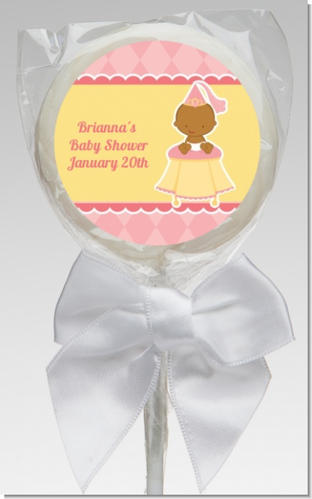 Little Princess African American - Personalized Baby Shower Lollipop Favors