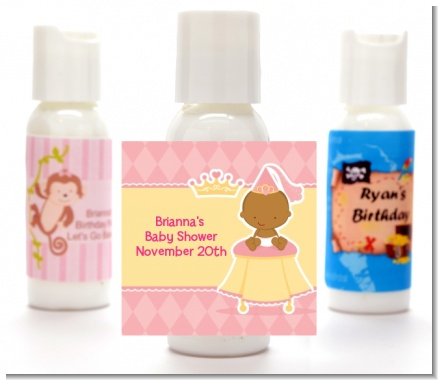 Little Princess African American - Personalized Baby Shower Lotion Favors