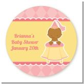 Little Princess African American - Round Personalized Baby Shower Sticker Labels