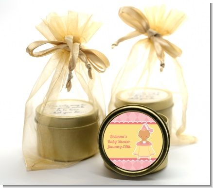 Little Princess Hispanic - Baby Shower Gold Tin Candle Favors