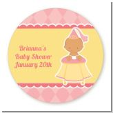 Little Princess Hispanic - Round Personalized Baby Shower Sticker Labels