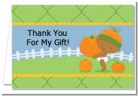 Little Pumpkin African American - Birthday Party Thank You Cards