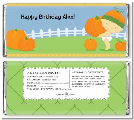 Little Pumpkin Asian - Personalized Birthday Party Candy Bar Wrappers