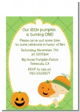 Little Pumpkin Caucasian - Birthday Party Petite Invitations