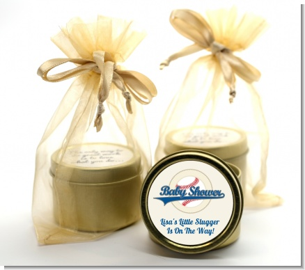 Little Slugger Baseball - Baby Shower Gold Tin Candle Favors