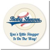 Little Slugger Baseball - Round Personalized Baby Shower Sticker Labels
