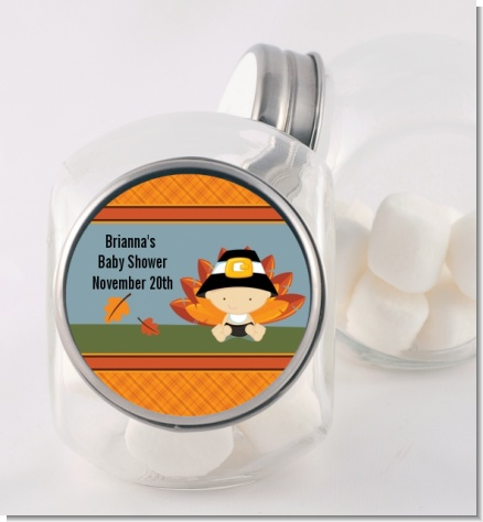 Little Turkey Boy - Personalized Baby Shower Candy Jar