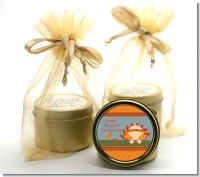 Little Turkey Girl - Baby Shower Gold Tin Candle Favors
