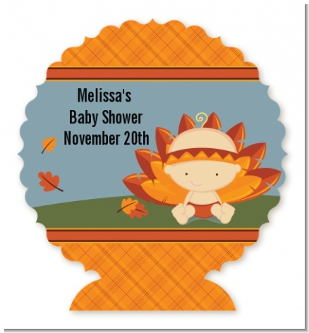 Little Turkey Girl - Personalized Baby Shower Centerpiece Stand