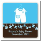 Little Boy Outfit - Square Personalized Baby Shower Sticker Labels