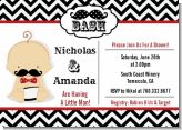 Little Man Mustache Black/Grey - Baby Shower Invitations