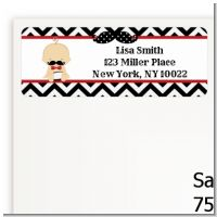Little Man Mustache Black/Grey - Baby Shower Return Address Labels