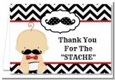 Little Man Mustache Black/Grey - Baby Shower Thank You Cards