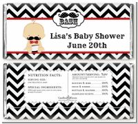 Little Man Mustache Black/Grey - Personalized Baby Shower Candy Bar Wrappers